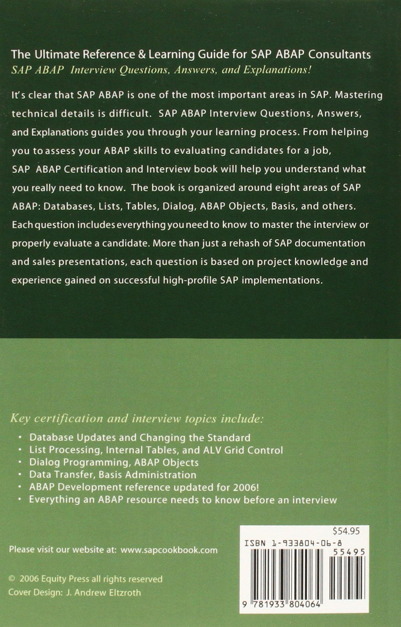 Buy SAP ABAP Certification Review: SAP ABAP Interview