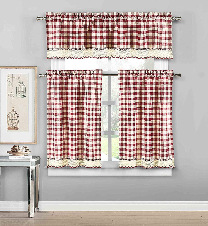 3 Piece Plaid, Checkered, Gingham Kitchen Curtain Set: 35% Cotton, 1 Valance, 2 Tier Panels, with Crochet Accent (Garnet)