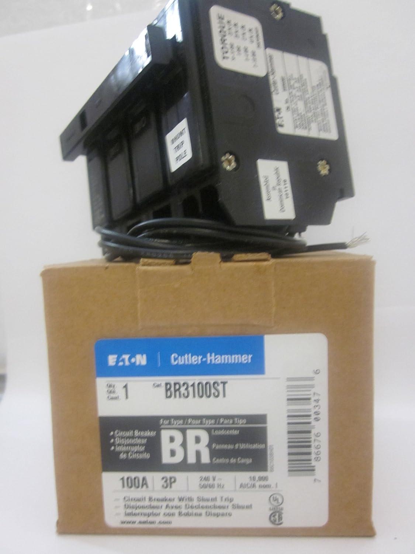 EATON CUTLER HAMMER BR3100ST 3 Pole 100 Amp Type BR 120-240V Shunt Trip Breaker