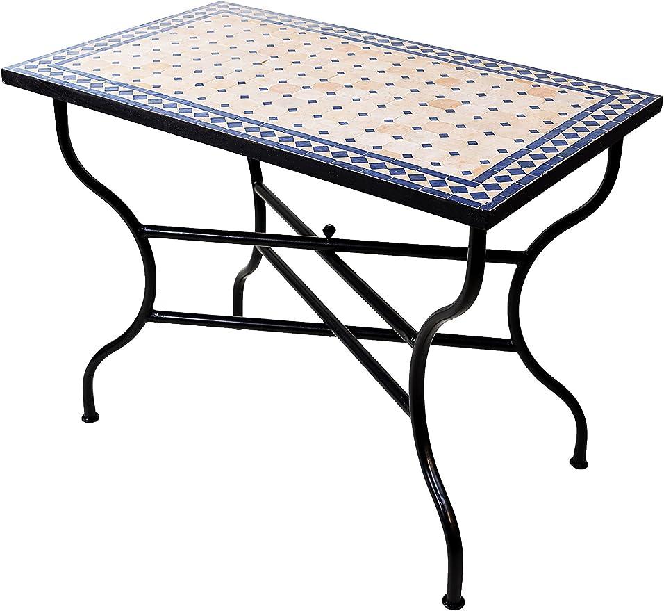 Mesa Mosaico de balcón marroquí Oriental mediterránea Original - marrakesch Natural/Azul - 100 x 60 cm - Mesa de Cocina Mesa de Azulejos Mesa de Comedor Mesa de jardín Mesa de terraza: Amazon.es: Jardín