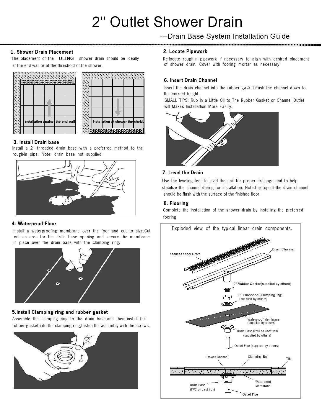 ULING D001-3 23.6 X 2.6 Inch 304# Stainless Steel Long Linear Floor Grate Waste Bathroom Shower Drain