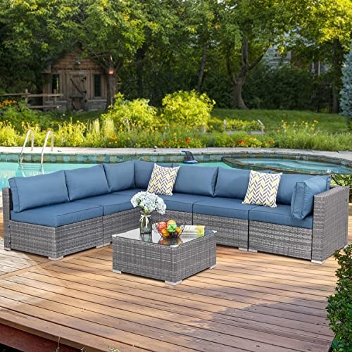 Walsunny 7 pcs Outdoor Black Rattan Sectional Sofa