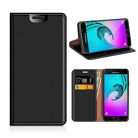 MOBESV Funda Cartera Samsung Galaxy A3 2016, Funda Cuero Movil Samsung A3 2016 Carcasa Case con Billetera/Soporte para Samsung Galaxy A3 2016 - Negro