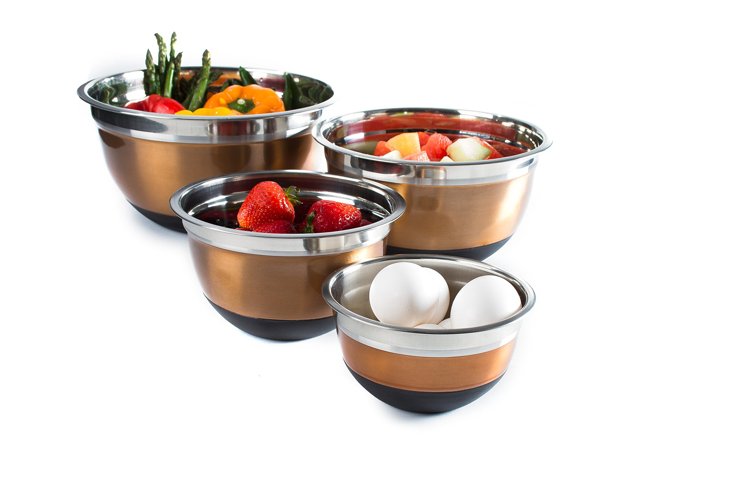 4 Pc Copper Brushed Mixing Bowl Set w/Silicone Nonskid Base - Stainless Steel Flat Base Serving Bowl or Prep Bowls