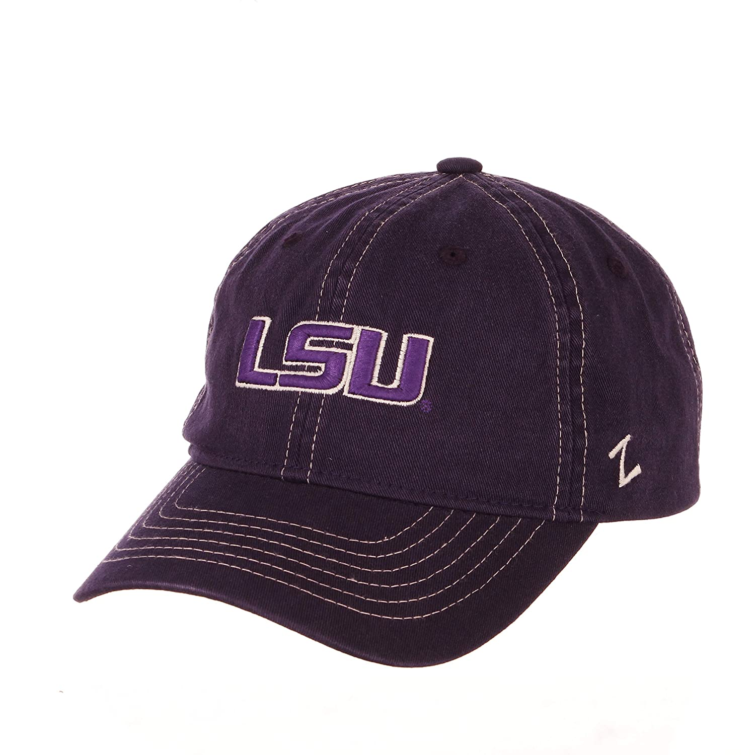 Primary Team Color Adjustable NCAA Zephyr LSU Tigers Mens Solo Washed Cotton Relaxed Hat