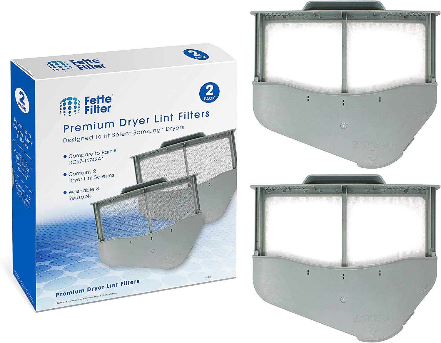 Fette Filter - Dryer Lint Screen Compatible with Samsung DC97-16742A (Pack of 2)