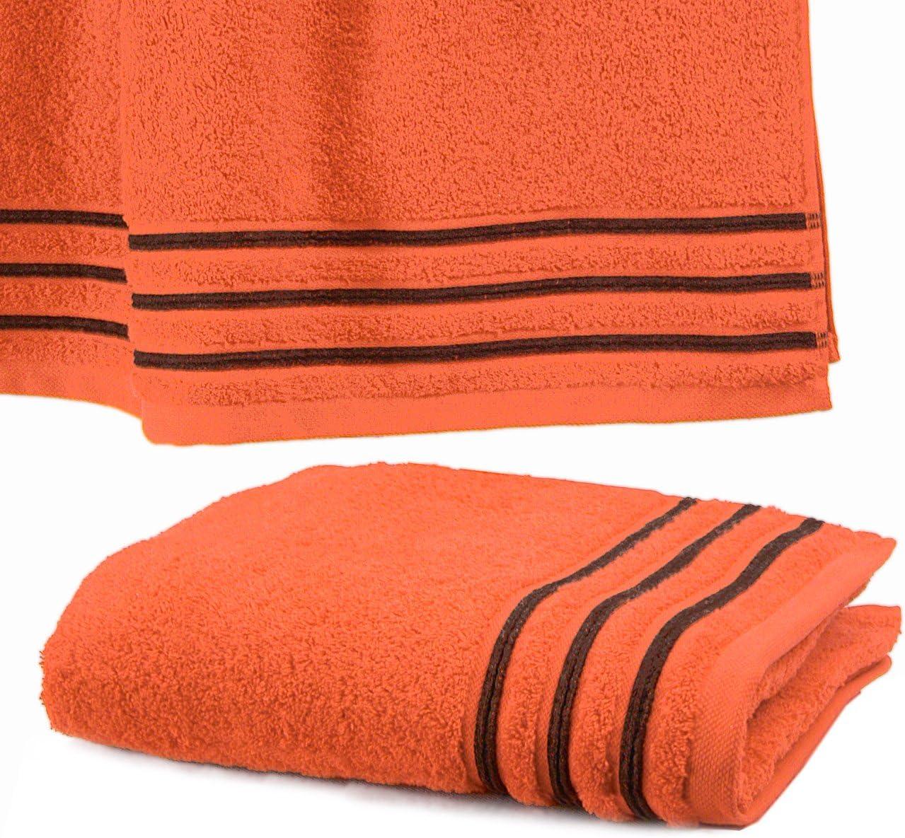 550 grS//m2 Orange avec Liserets Chocolat Drap De Douche 70x140 cm 100/% Coton