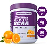 HealthyHey Sports BCAA Powder 2:1:1, Branched Chain Amino Acids, BCAAs, Tangy Orange, 50 Servings (Tangy Orange, 300 g)