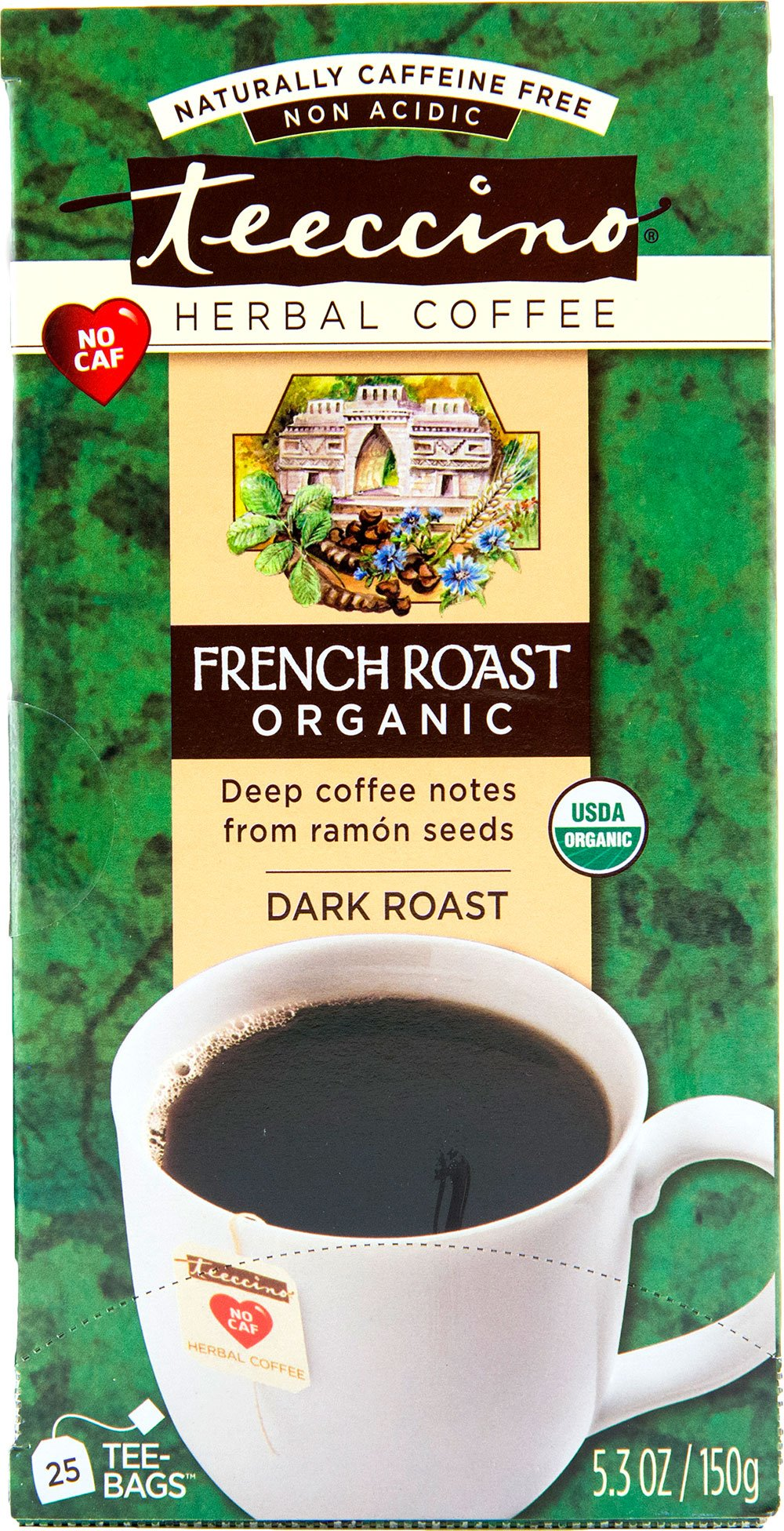Teeccino French Roast Organic Chicory Herbal Tea Bags, Caffeine Free, Acid Free, 25 Count
