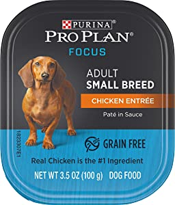 Purina Pro Plan Grain Free, High Protein Small Breed Pate Wet Dog Food, FOCUS Chicken Entree - (12) 3.5 oz. Trays
