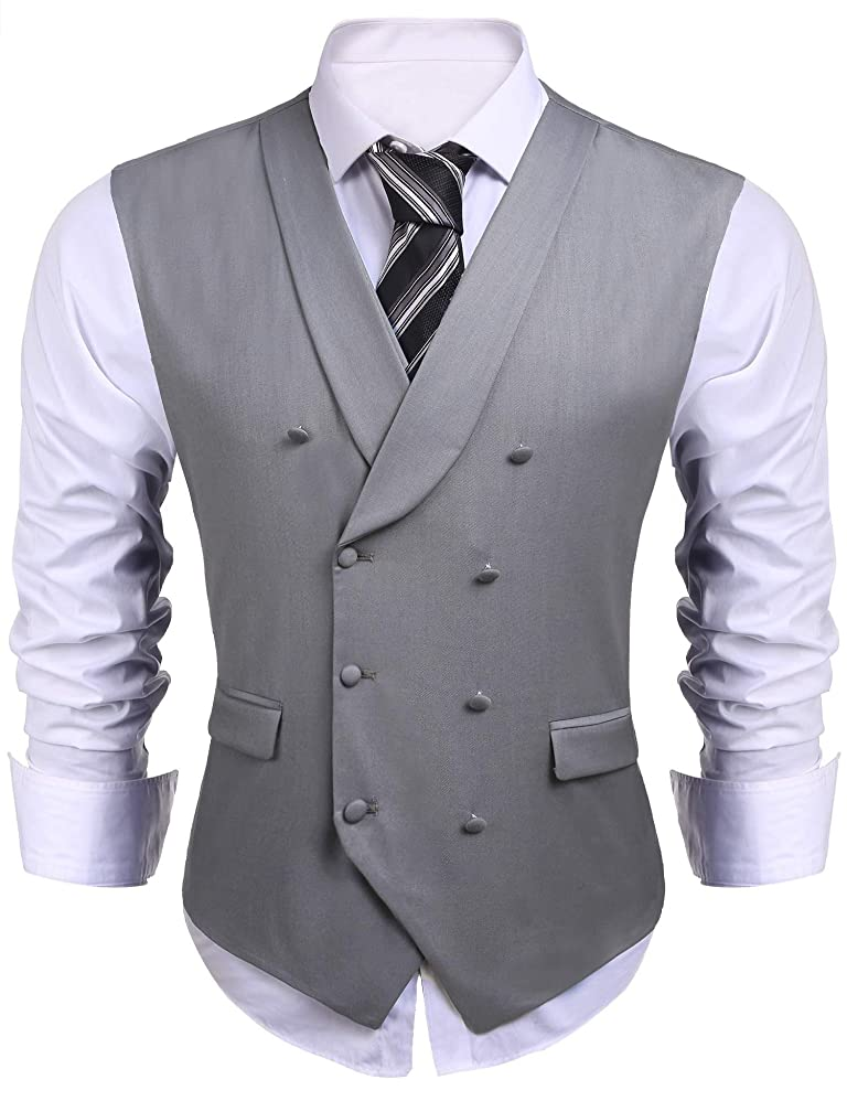 1900s Edwardian Men's Suits and Coats Jinidu Mens Formal Double-breasted V-neck Sleeveless Business Wedding Dress Suit Button Down Vests $32.99 AT vintagedancer.com