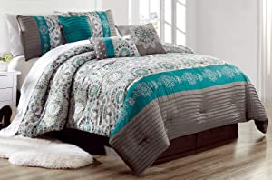 Luxury 7 Piece Bedding SAMMY Pin Tuck Comforter Set in Dark Grey, Teal Blue and Gold - KING size set with accent pillows