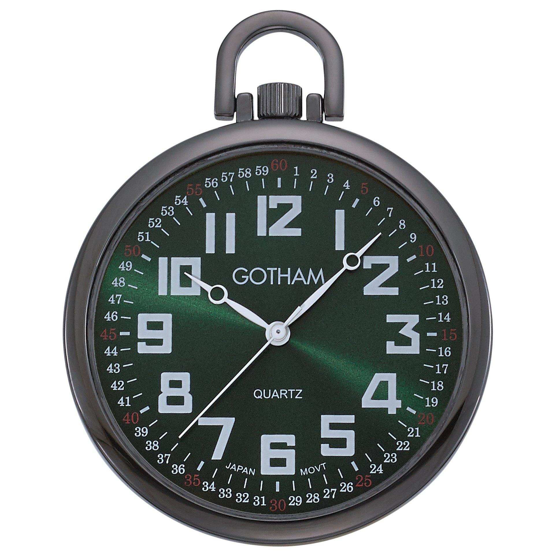 Gotham Men's Gun-Tone Slim Railroad 24 Hour Open Face Quartz Pocket Watch # GWC15027BG