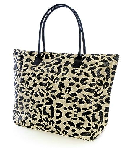 2c30f0df34ac LADIES GIRLS Animal Print Summer Beach Tote Bag Leopard Black Zebra Brown  Bag