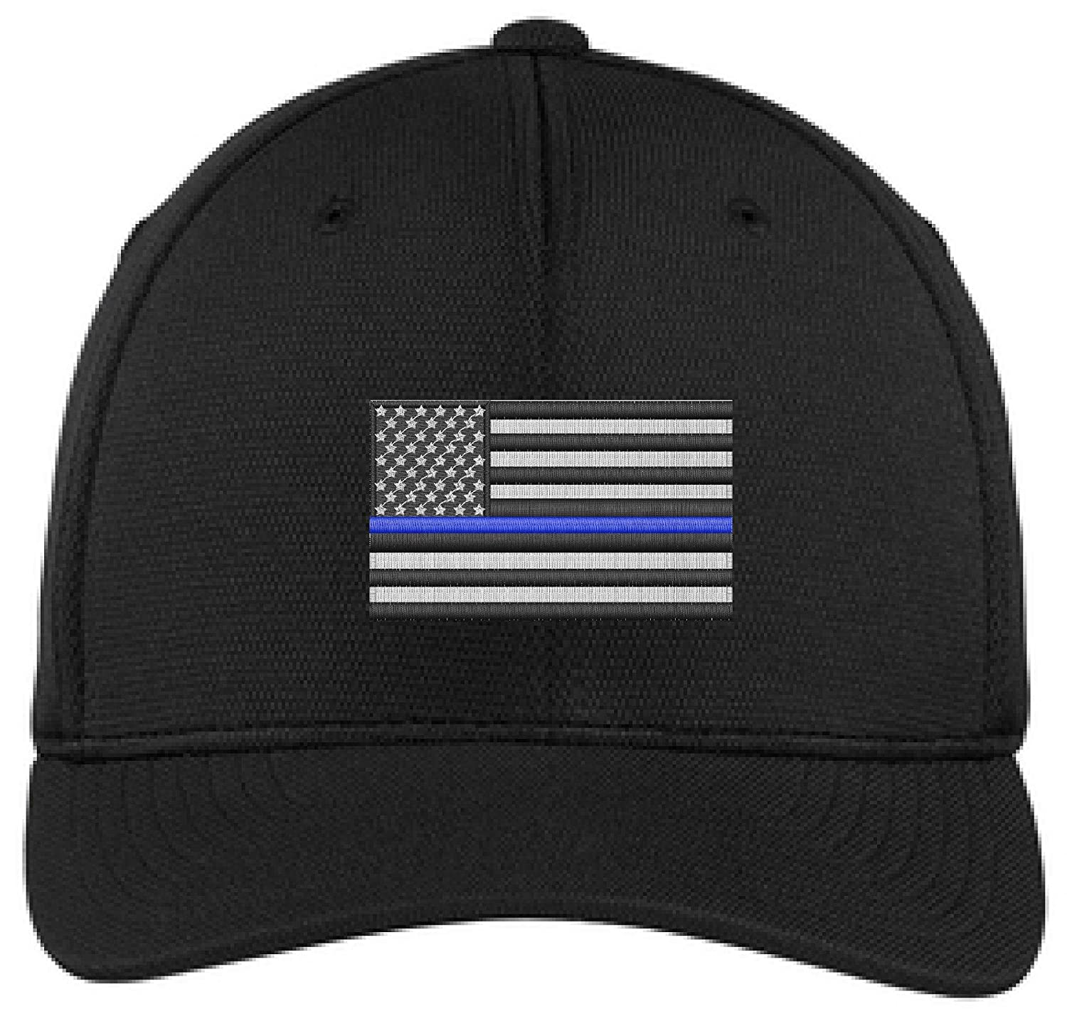 362aa7655b4fb6 Embroidered Thin Blue Line Subdued American Flag Law Enforcement Black  Flexfit Hat at Amazon Men's Clothing store: