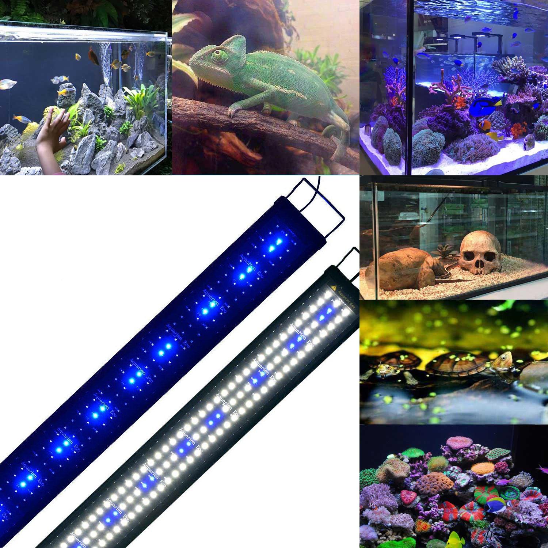 Aquarien ECO Lámpara de Acuario Luz de Acuario Azul Blanco LED 2835 SMD 2 Modos Extensibles con Iluminación de Enchufe para Acuario de Peces(120 cm): ...