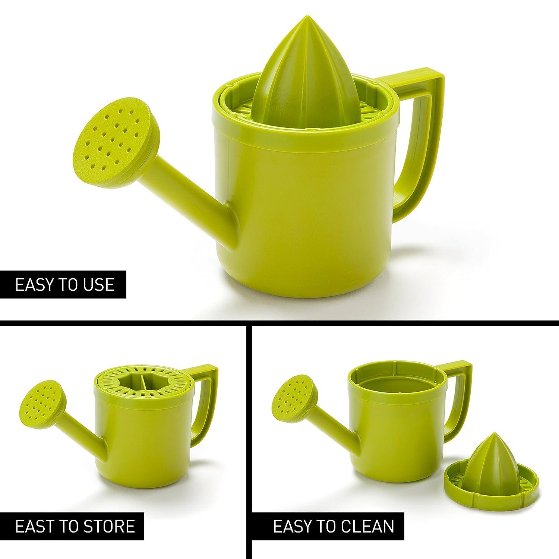 lemoniere por diseño Peleg: Original riego can-shaped exprimidor, verde exprimidor de plástico con vertedor para limón o zumo de cítricos con tapa para ...
