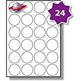 24 Per Page/Sheet, 5 Sheets (120 ROUND Sticky Labels), Label Planet® White Blank Matt Self-Adhesive A4 Circular Circle Price Pricing Stickers, Printable With Laser or Inkjet Printer, UK LP24/45R, 45MM Diameter Circles, FOR JAM FREE PRINTING