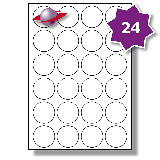 picture relating to Printable Stickers Round named 24 For every Site/Sheet, 10 Sheets (240 Spherical Sticky Labels), Label Planet® White Blank Matt Self-Adhesive A4 Round Circle Charge Pricing Stickers,
