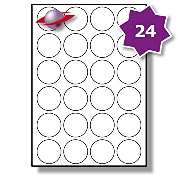 graphic regarding Printable Circle called 24 For each Website page/Sheet, 10 Sheets (240 Spherical Sticky Labels), Label Planet® White Blank Matt Self-Adhesive A4 Round Circle Cost Pricing Stickers,