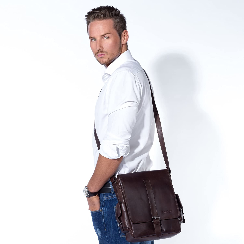 0debd7c3c Amazon.com | FEYNSINN real leather messenger bag ASHTON medium shoulder  courier bag ipad inch laptop cross-body bag vertical leather bag men´s bag  brown ...