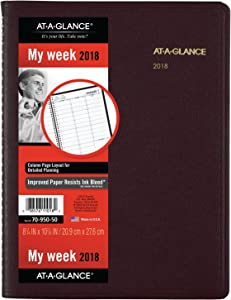 "AT-A-GLANCE Weekly Appointment Book / Planner, January 2018 - January 2019, 8-1/4"" x 10-7/8"", Winestone (7095050)"