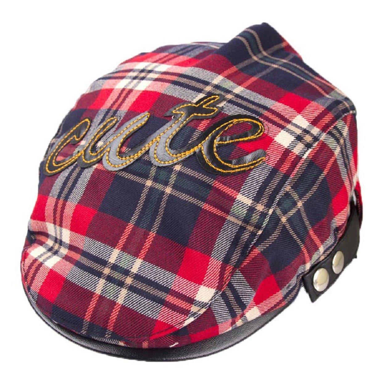 Malloom® Baby Kids Toddler Plaid Beret Cap Hat Cap (Blue) ABN-541002