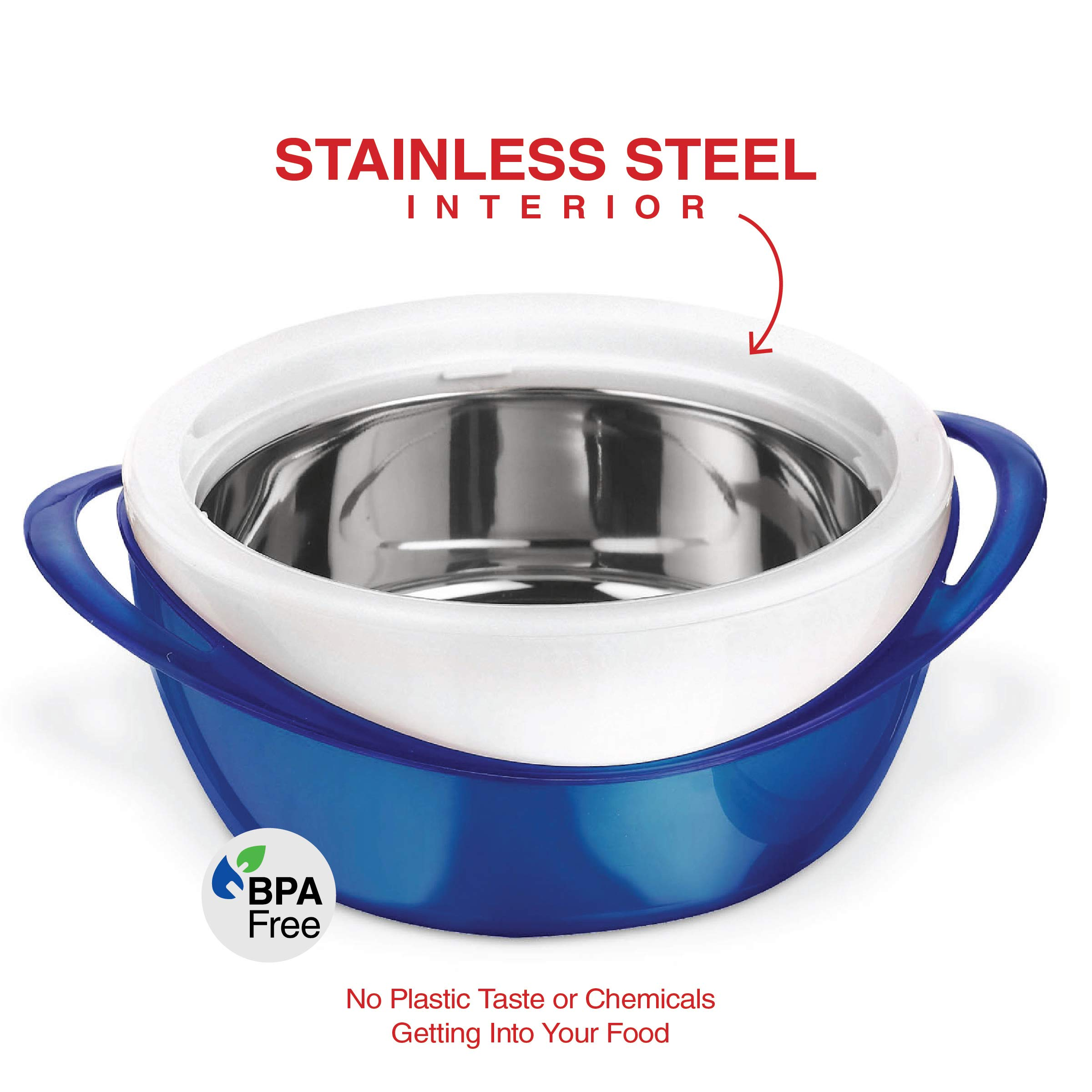 Pinnacle Casserole Dish - Large Soup and Salad Bowl - Insulated Serving Bowl With Lid (3.6 qt, Blue) by Pinnacle Thermoware (Image #3)