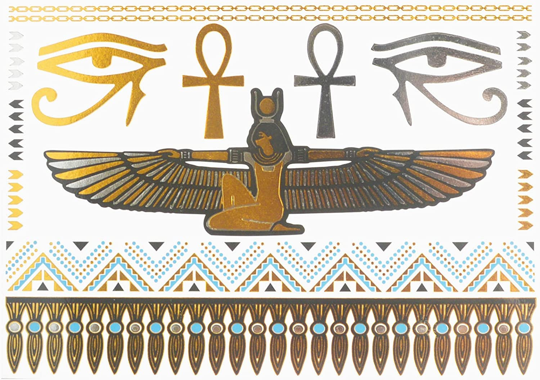 COKOHAPPY Metálico Temporales Tatuaje Egipcio Cleopatra Ankh ...
