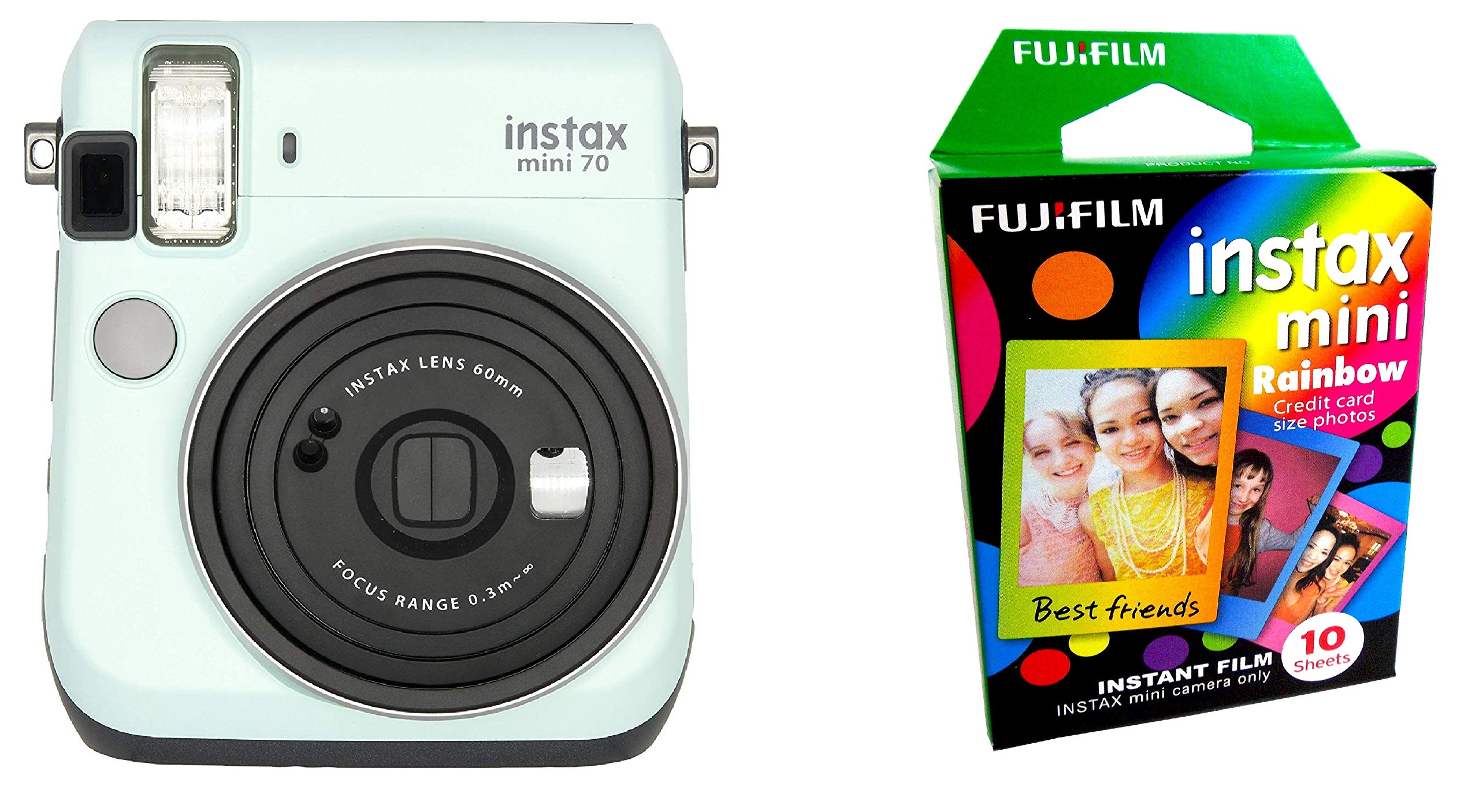 Fujifilm Instax Mini 70 - Instant Film Camera (ICY Mint) and Instax Mini Rainbow Film Value Pack - 10 Images by Fujifilm