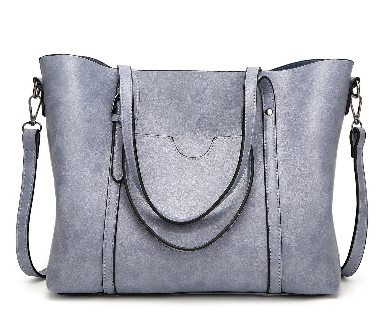 EssVita Sacs à main Femme sacs à bandoulière PU cuir Poignée supérieure Cartable Messager Sac Bleu Clair Ess-Handbags002-LBe