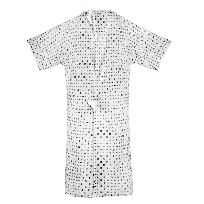 Bata de hospital (6 Pack), mezcla de algodón, útil, moda paciente fiesta, Back Tie, 46 cm de largo & 66