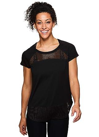 14cb490925 Amazon.com: RBX Active Women's Short Sleeve Open Back Yoga T-Shirt ...