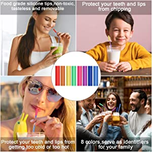 Metal Straws Stainless Steel Straws 16 Pcs 10.5 8.5 Multicolor Reusable Drinking Straws for 20/30 Oz Yeti Tumblers with 16 Food Grade Silicone Tips 4 Cleaning Brush 1 Pouch(Color:Rainbow Rose Gold) (Color: Multi, Tamaño: small)