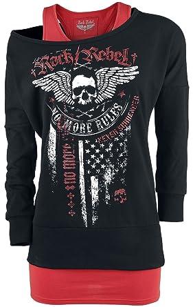 Rock Rebel by EMP Break Free Sweat-Shirt Femme Bordeaux Noir XS ... ec9f22e39ef4