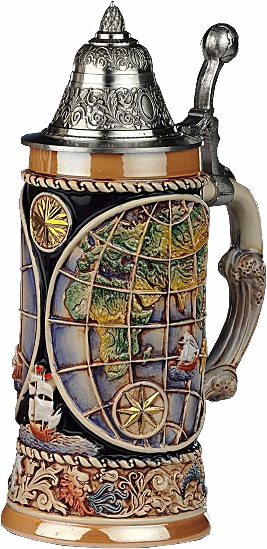 KING Jarra de Cerveza Alemana Globo terráqueo, los Cuatro Elementos como Base, Tapa Puntiaguda con Apoyo para el Pulgar en Forma del Globo terráqueo, 0,5 litros KI 338-Z 0,5L