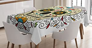 "Ambesonne Sugar Skull Tablecloth, Catrina Calavera Featured Ornaments Macabre Remember The Dead Theme, Dining Room Kitchen Rectangular Table Cover, 60"" X 84"", White Ivory"