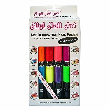 Buy Migi Nail Art Nail Polish And Pen Duo Neon Color Set Online At