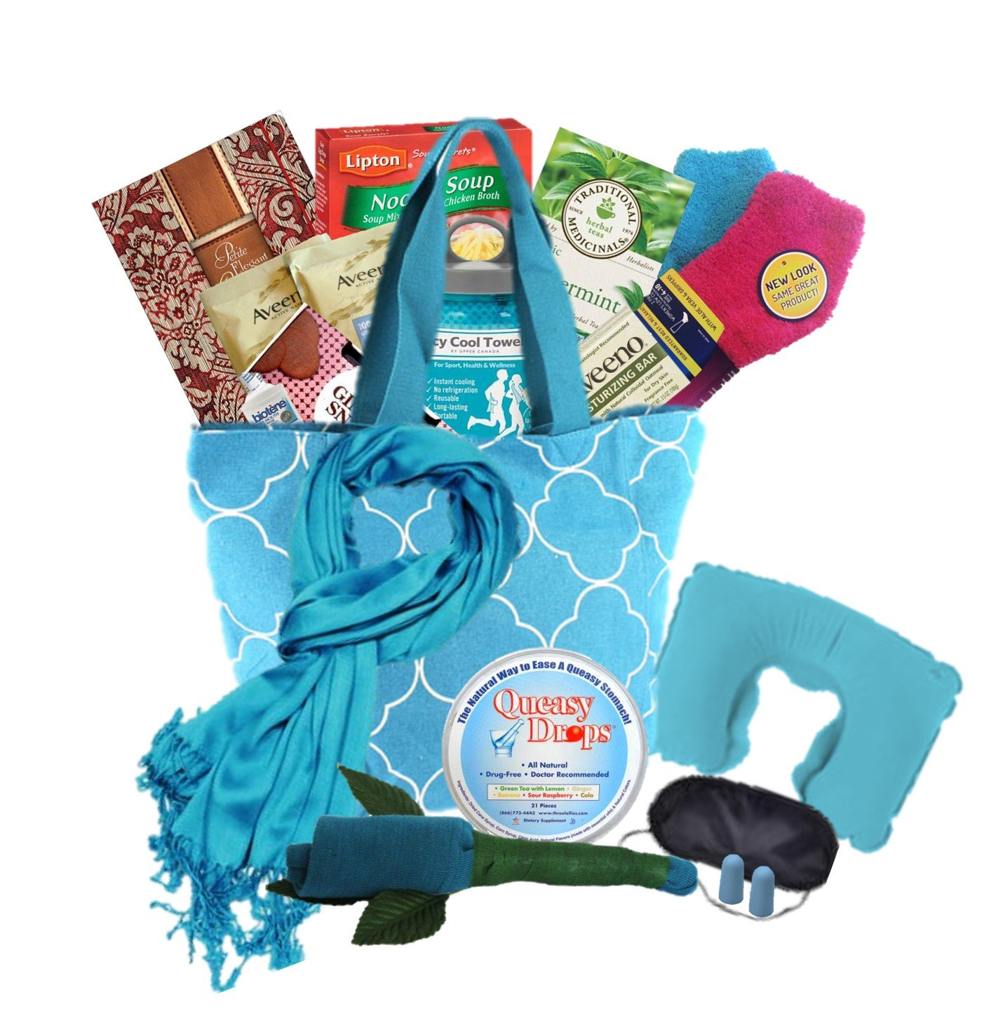 The Big Queasy Cancer Gift Basket for Women - Teal