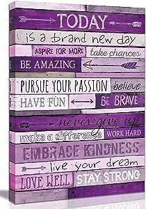 roginga-ato Inspirational Wall-Art - Wall Decor for Bedroom Teen Girl - Large Wall Pictures for Living Room - Purple Wall Art Word Artwork for Home Walls Teenage Girl Room Decor Size 24x36