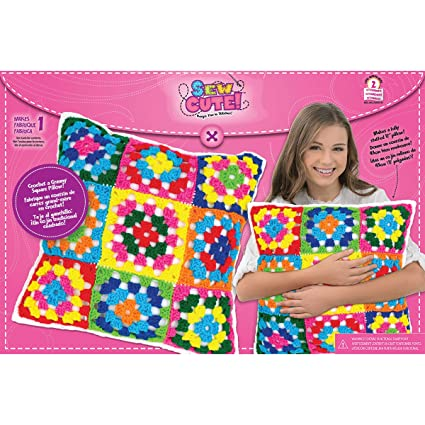 Amazon.com: Colorbok Sew Cute Crochet Granny Squares Pillow
