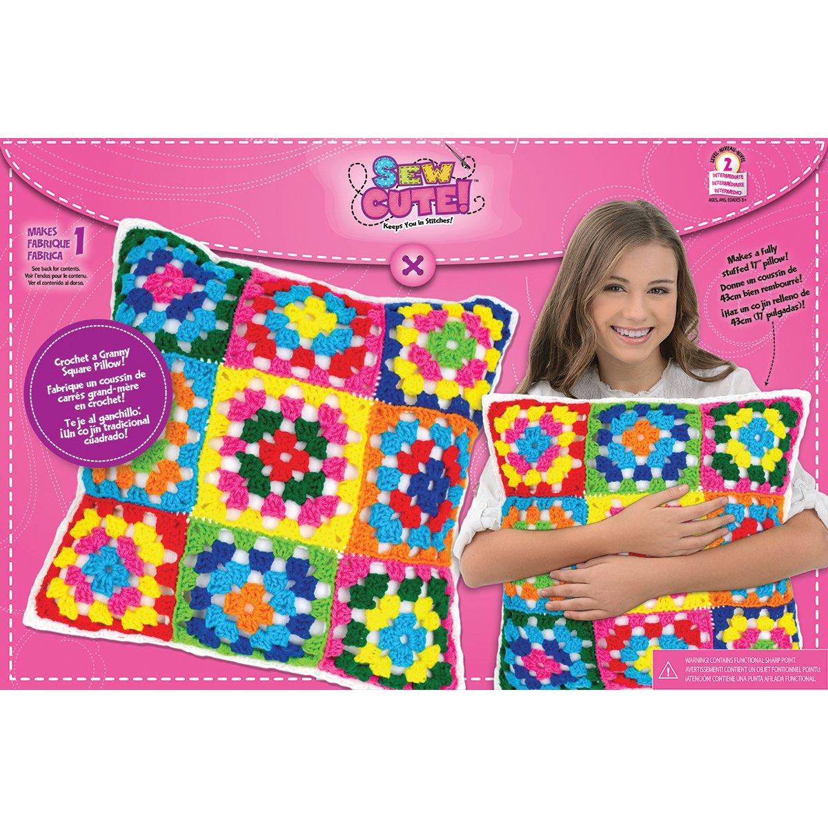 Colorbok Sew Cute Crochet Granny Squares Pillow