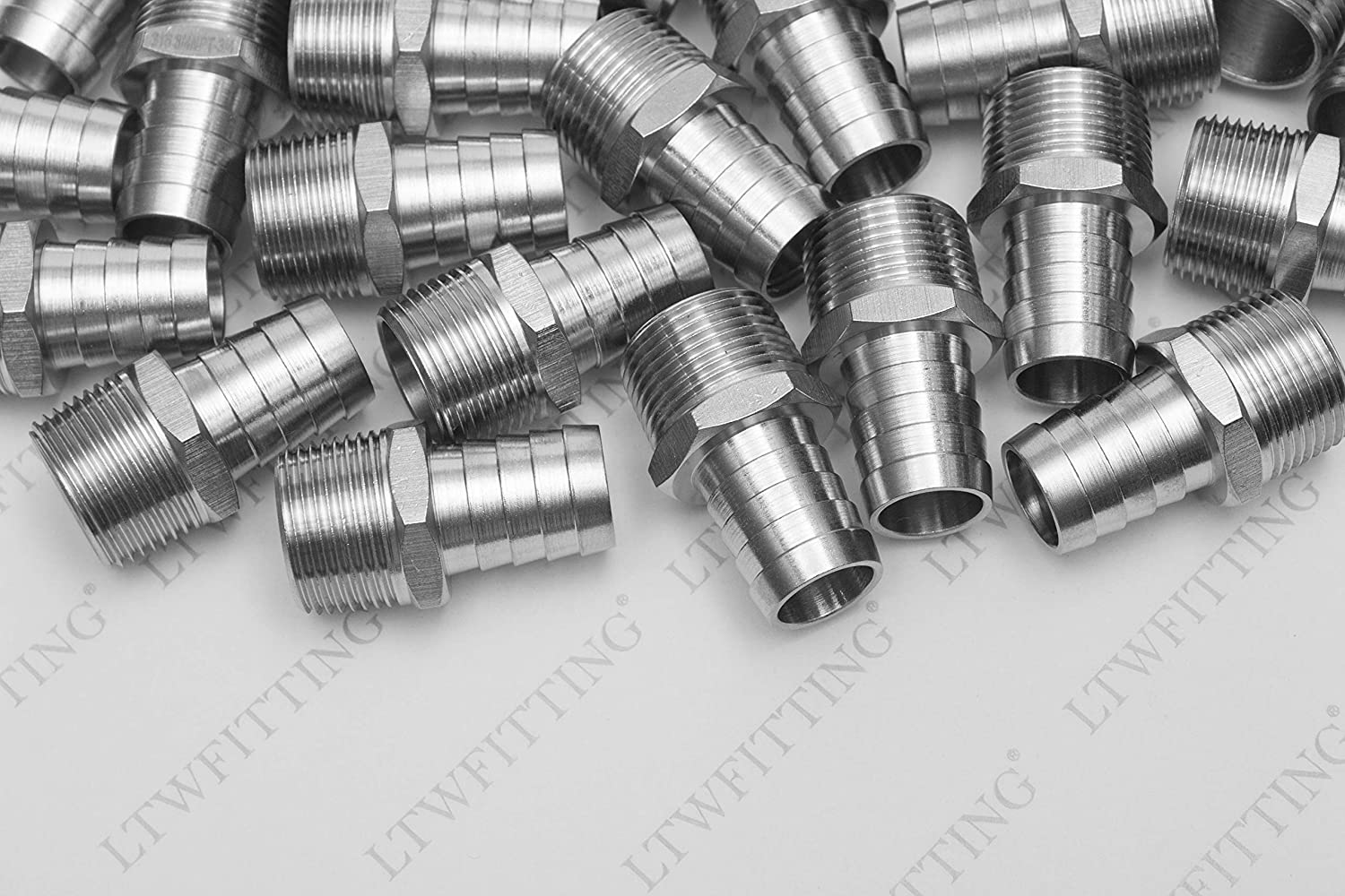 Pack of 5 LTWFITTING Bar Production Stainless Steel 316 Barb Fitting Coupler//Connector 5//16 Hose ID x 1//2 Male NPT Air Fuel Water