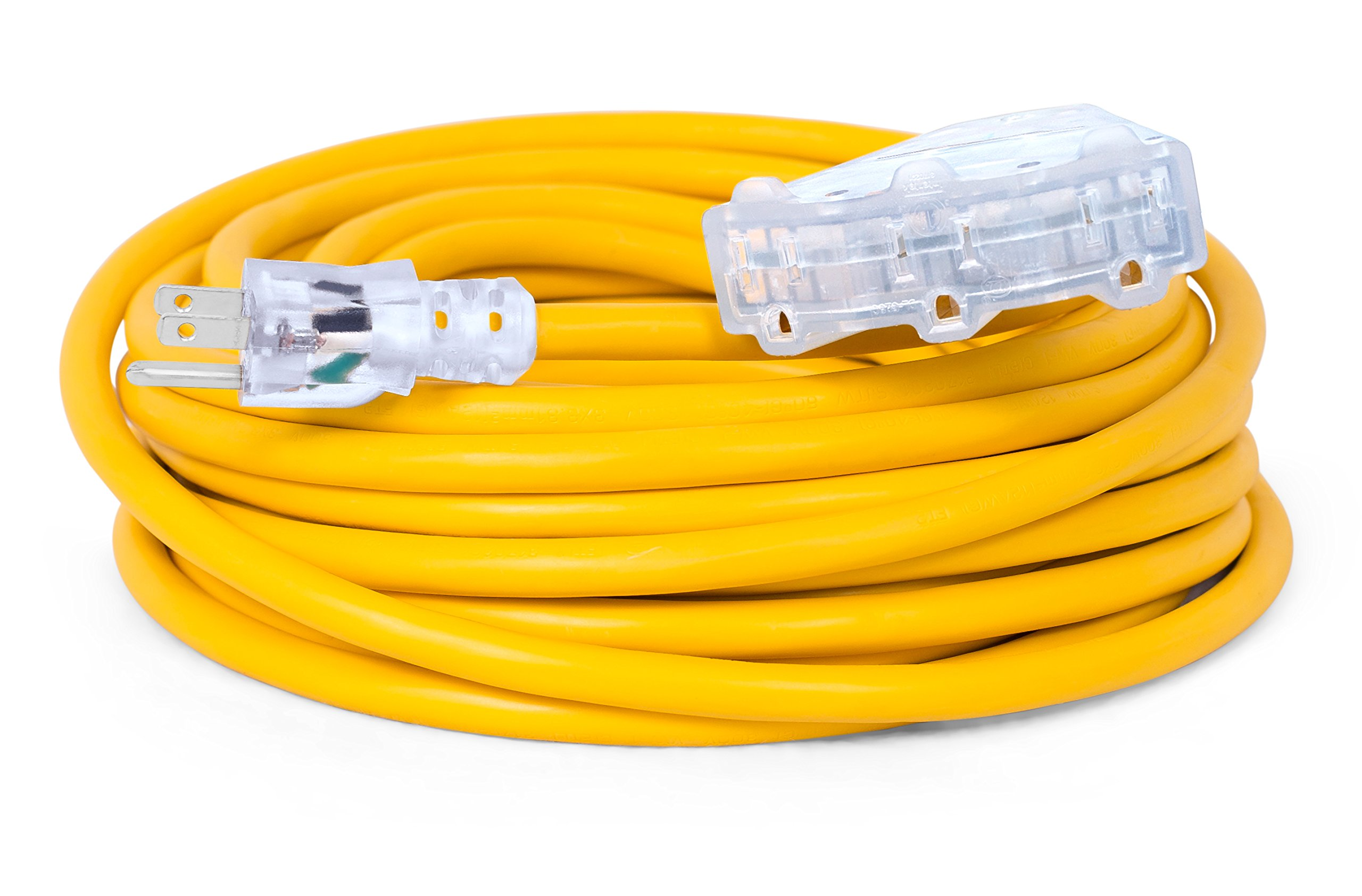 Internet's Best 50 FT Triple Tap Extension Cord with LED Lighted Plugs | 12 AWG (Gauge – 12/3) Heavy Duty Outdoor/Indoor Power Extension Cable Cord | NEMA 5-15R & 5-15P | 3 Outlet | Yellow