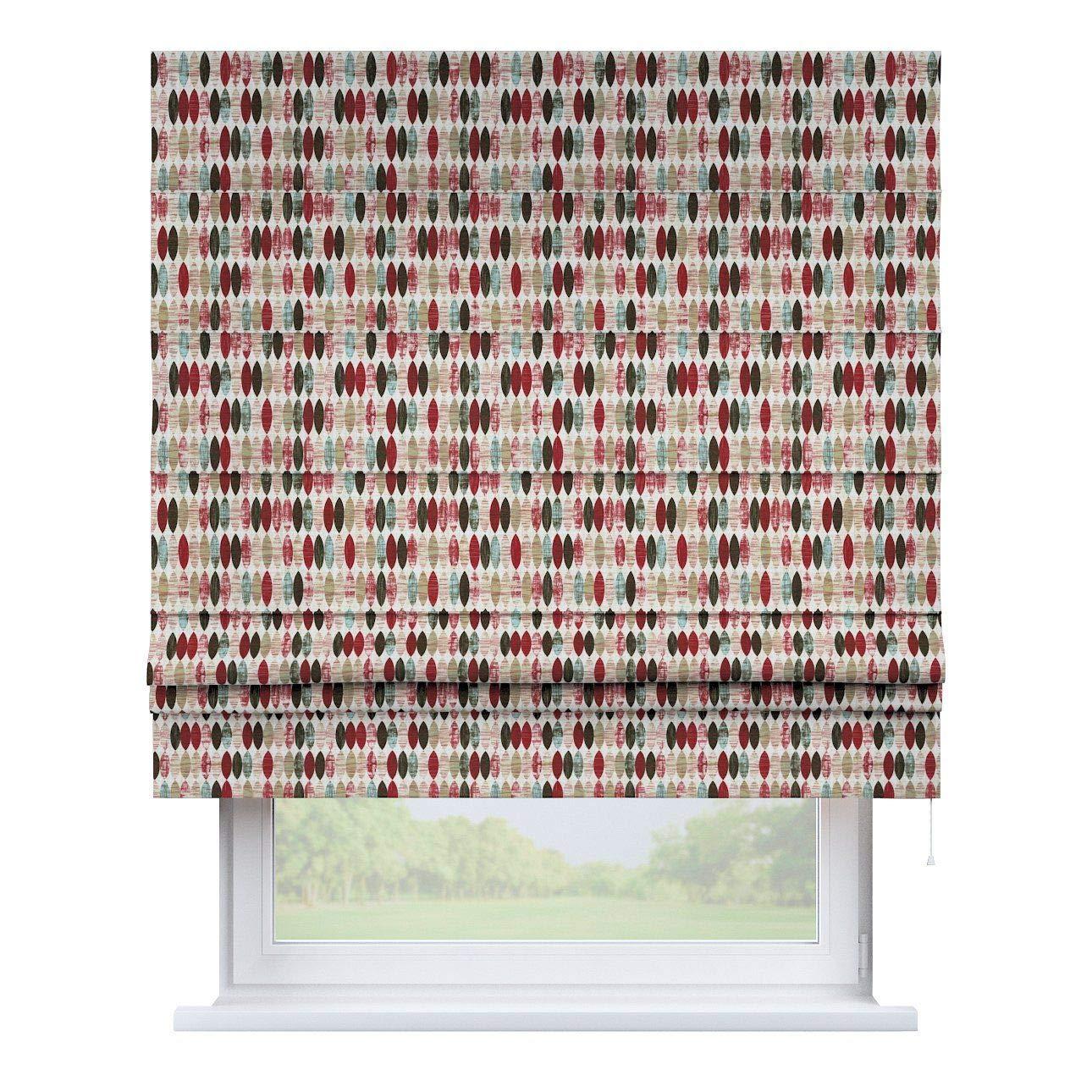 Dekoria Raffrollo Padva ohne Bohren Blickdicht Faltvorhang Raffgardine Wohnzimmer Schlafzimmer Kinderzimmer 160 × 170 cm rot-beige Raffrollos auf Maß maßanfertigung möglich