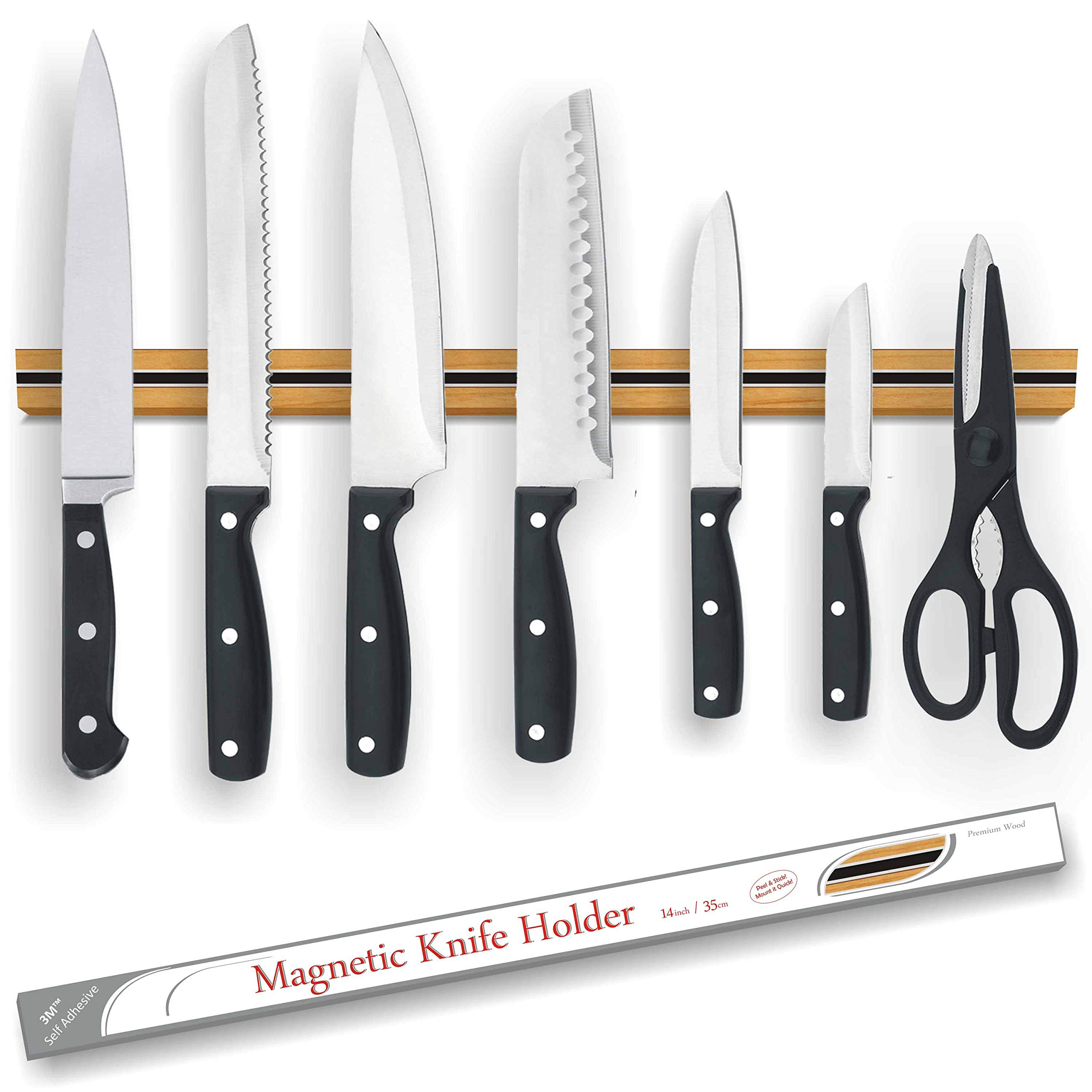 Magnetic Knife Strip 14'' - Premium Oak Wood - Self Adhesive 3M™ System - Easy Install - No Holes Drilling - Very strong magnetism - Holds All Knives - Slim Design