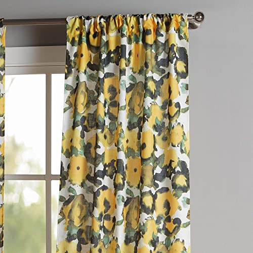 Kensie – Keila Printed Floral Yellow Sunflower Pole Top Window Curtains for Living Room Bedroom – Assorted Colors – Set of 2 Panels 38 X 84 Inch – Multi