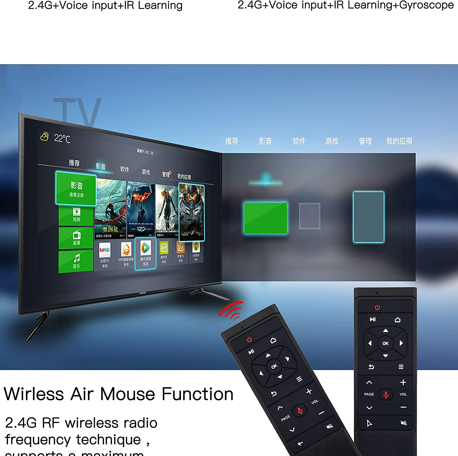 Color: With Gryo Calvas MT12 Voice Remote Control 2.4G Wireless Air Mouse Gryo IR Learning Function Mini Keyboard For Android TV Box PC Projector