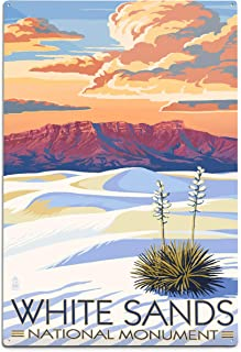 product image for Lantern Press White Sands National Monument, New Mexico - Sunset Scene 40504 (6x9 Aluminum Wall Sign, Wall Decor Ready to Hang)