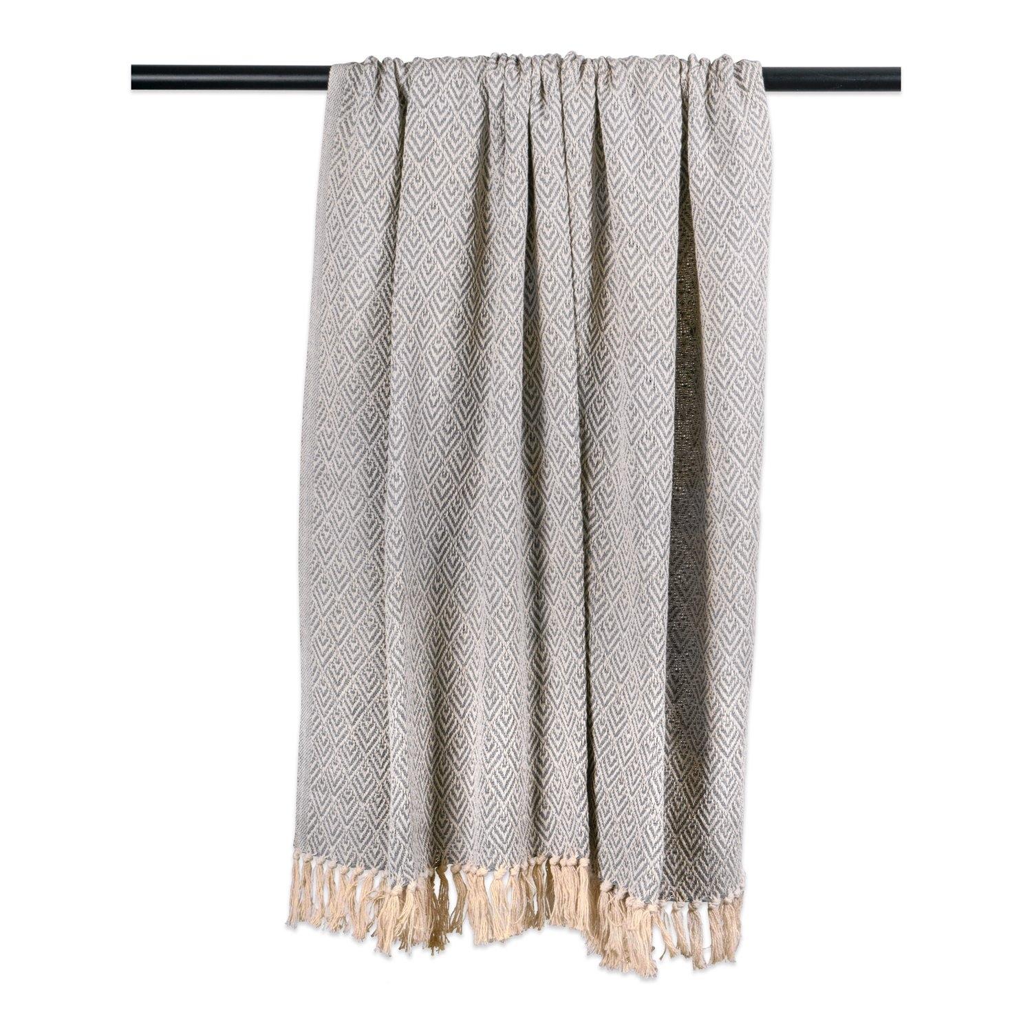 DII Rustic Farmhouse Cotton Diamond Blanket Throw with Fringe for Chair, Couch, Picnic, Camping, Beach, Everyday Use, 50 x 60 - Diamond Gray by DII (Image #4)